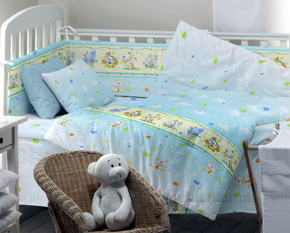 Постельное белье в кроватку KidsDreams Улыбка голубое