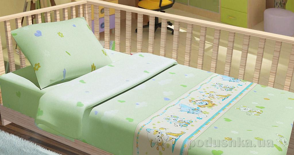 Постельное белье в кроватку KidsDreams Улыбка зелёное