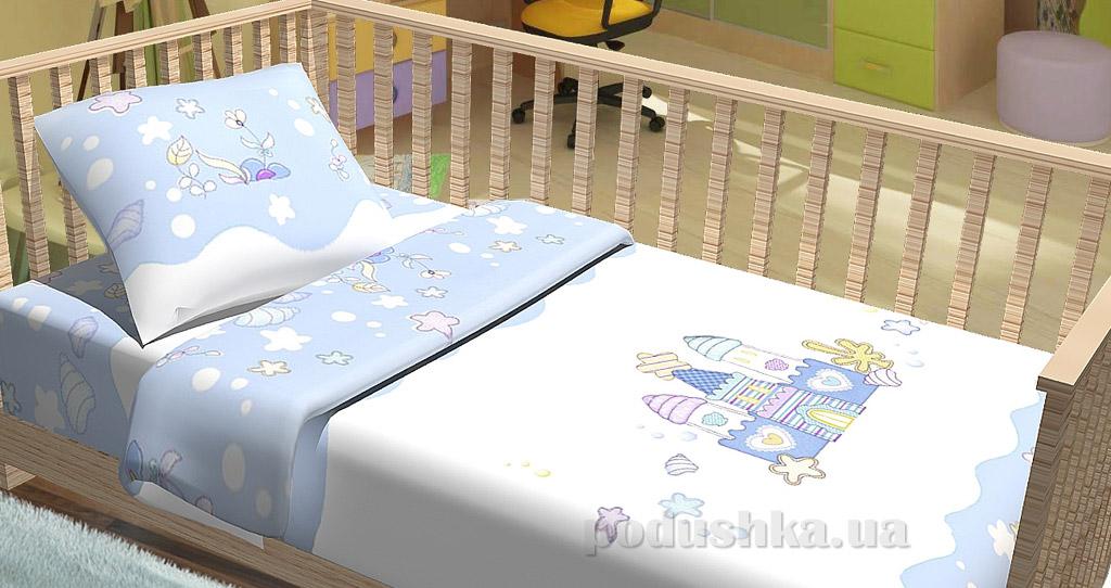 Постельное белье в кроватку KidsDreams Замок голубое