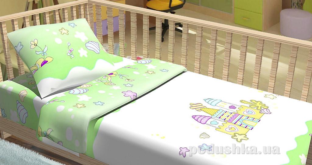 Постельное белье в кроватку KidsDreams Замок зелёное