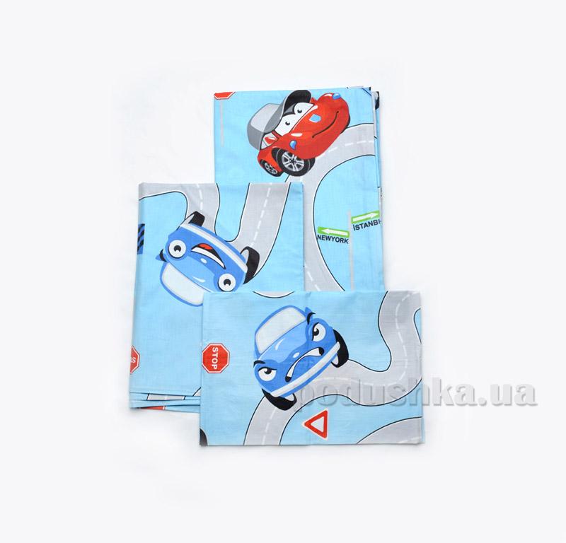 Постельное белье в кроватку Модный карапуз голубое 03-00485 Детский комплект  Модный карапуз