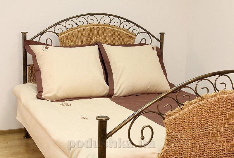 Постельное белье Вологодский лён Веер бежево-коричневое