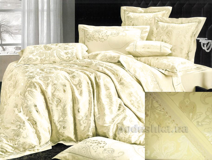 Постельное белье жаккард Goldentex GV-266-1 молочный Двуспальный евро комплект  GoldenTex