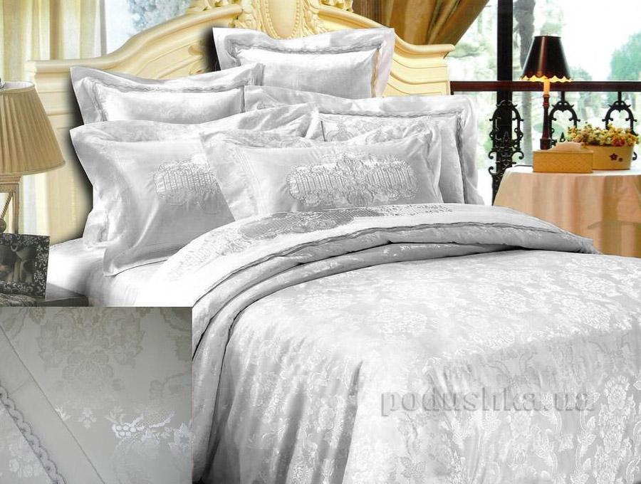 Постельное белье жаккард Goldentex GV-270-1 молочное Двуспальный евро комплект  GoldenTex