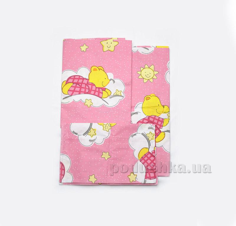 Постельное белье в кроватку Модный карапуз розовое Детский комплект  Модный карапуз