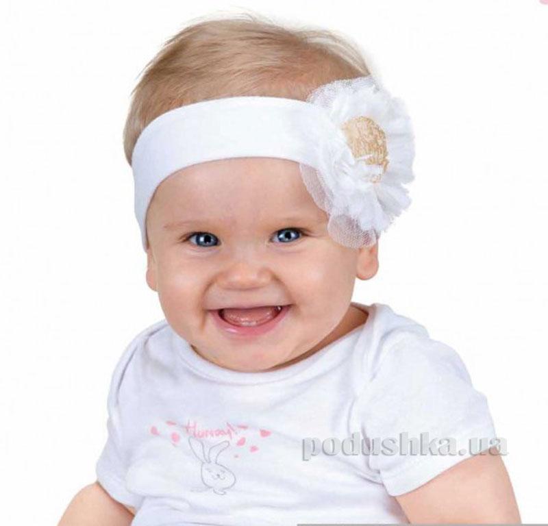 Повязка Pupill Flossy белая с розочкой