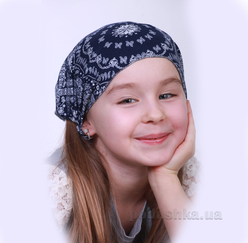 Повязка-косынка для девочки Бабасик Даша синяя