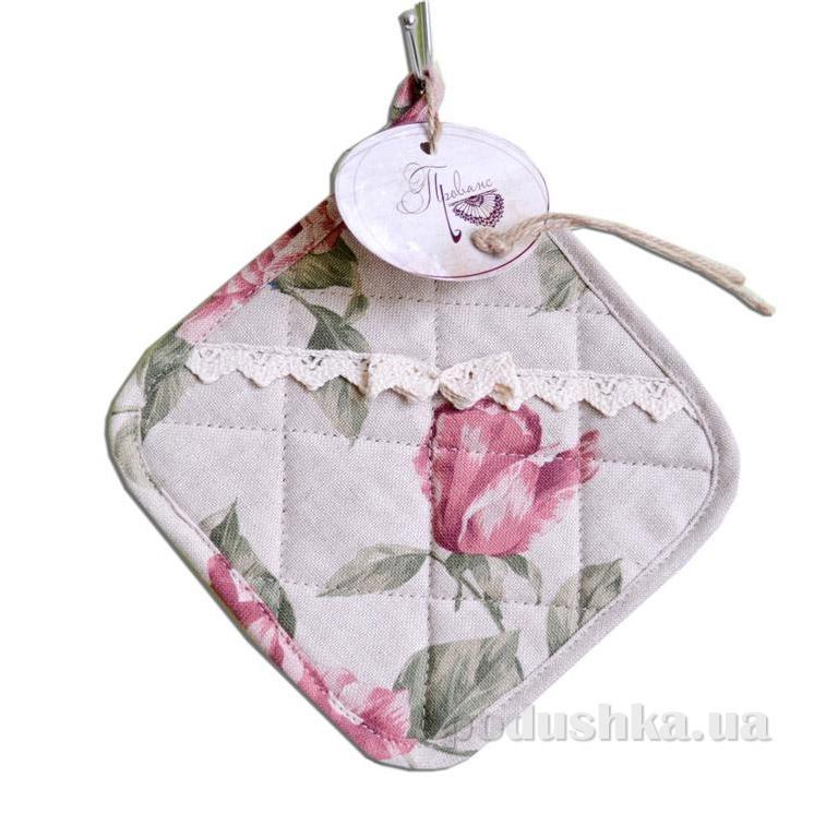 Прихватка квадратная Прованс Large pink rose