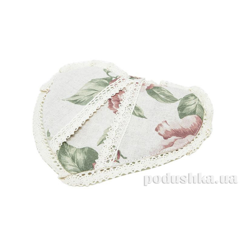 Прихватка сердце Large pink rose Прованс 1726
