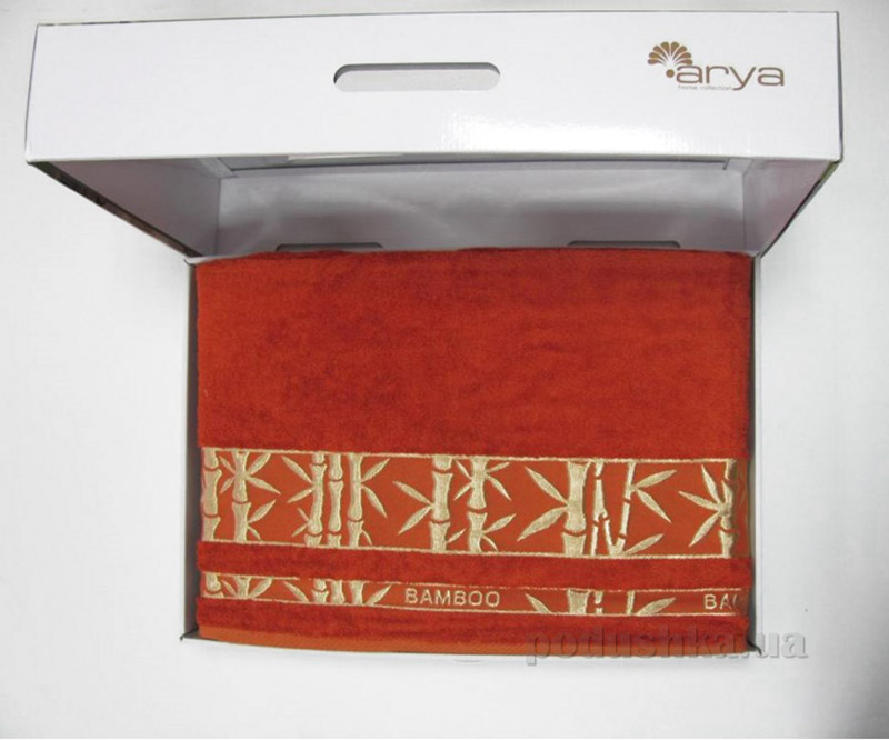 Простынь бамбук жаккард в коробке Arya Elanor 1300118 200х220 см кирпичная ARYA