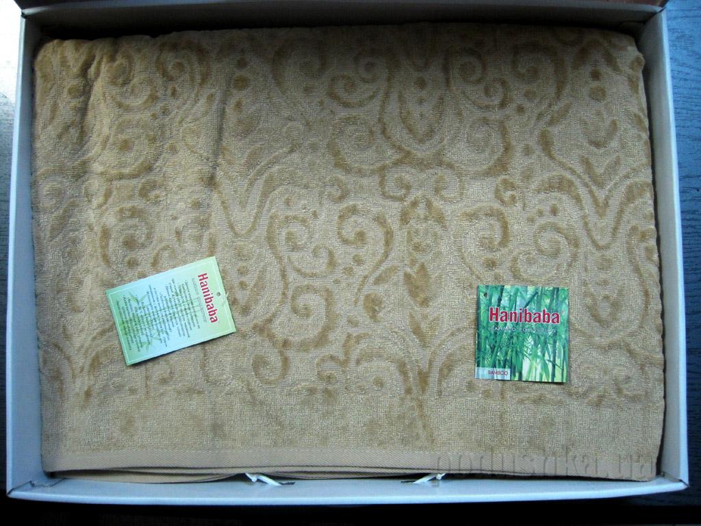 Простынь бамбуковая велюровая Hanibaba Mimoza бежевая