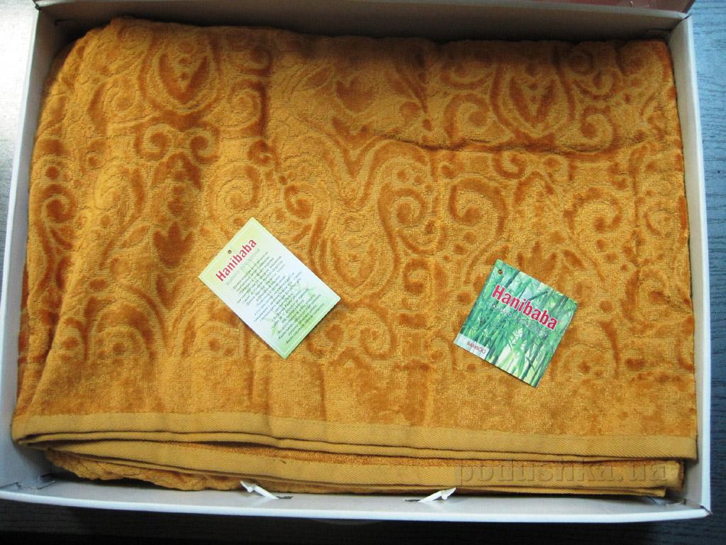 Простынь бамбуковая велюровая Hanibaba Mimoza золотистая