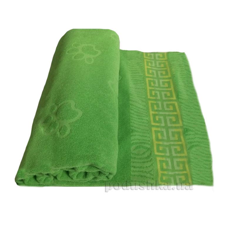 Простынь махровая Леон Лапа Речицкий текстиль зеленая