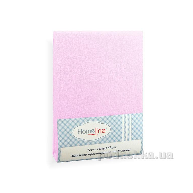 Простынь махровая на резинке Home Line розовая