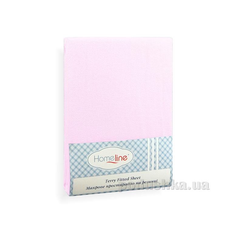 Простынь махровая на резинке Home Line светло-розовая