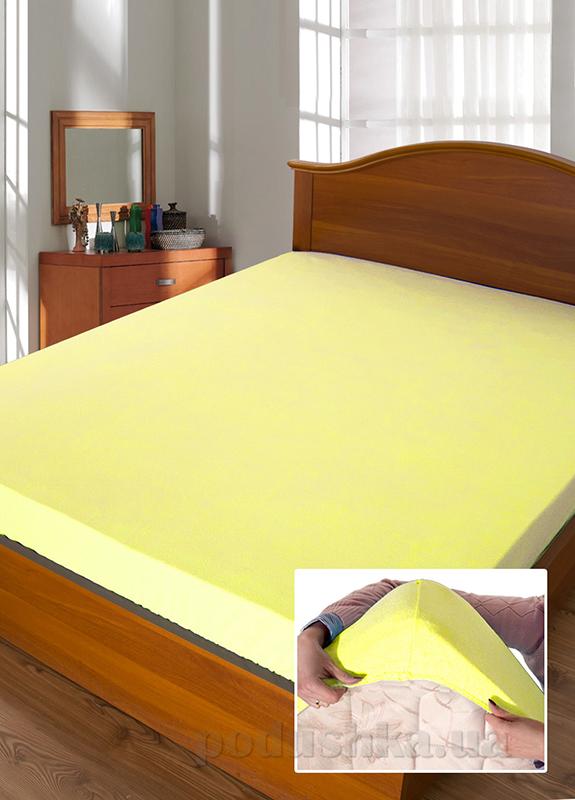 Простынь махровая на резинке Ярослав желтая 140х200 см  Ярослав