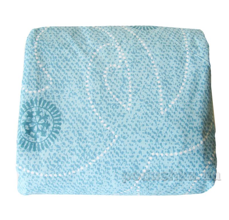 Простынь ранфорс на резинке Вилюта 9844 голубая с узором