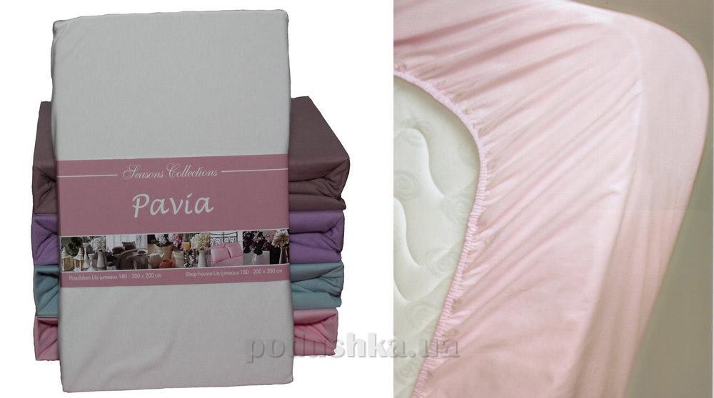 Простынь трикотажная на резинке Pavia cream молочная 90/100х200 см  Pavia