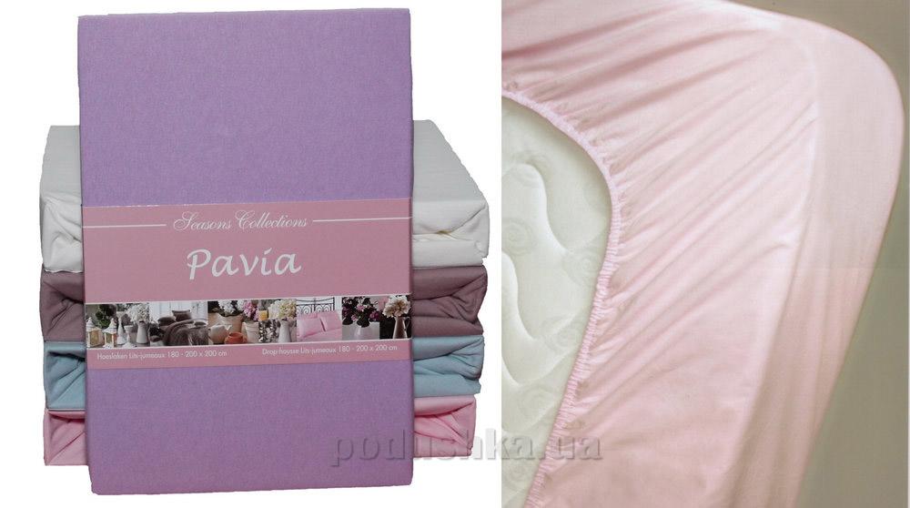 Простынь трикотажная на резинке Pavia Lila сиреневая 90/100х200 см  Pavia