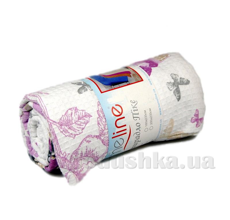 Простынь вафельная Пике Home Line сиреневые цветы