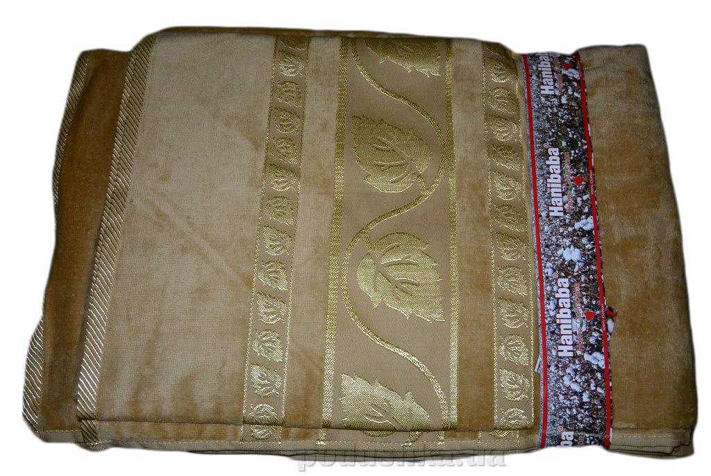 Простынь велюровая Hanibaba Золотой Лист бежевая