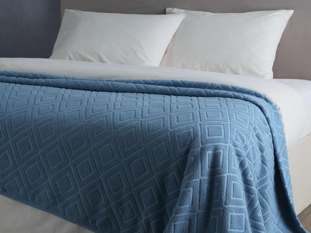 Простынь-покрывало махровая Pavia Violeta синяя 160х220 см  Pavia
