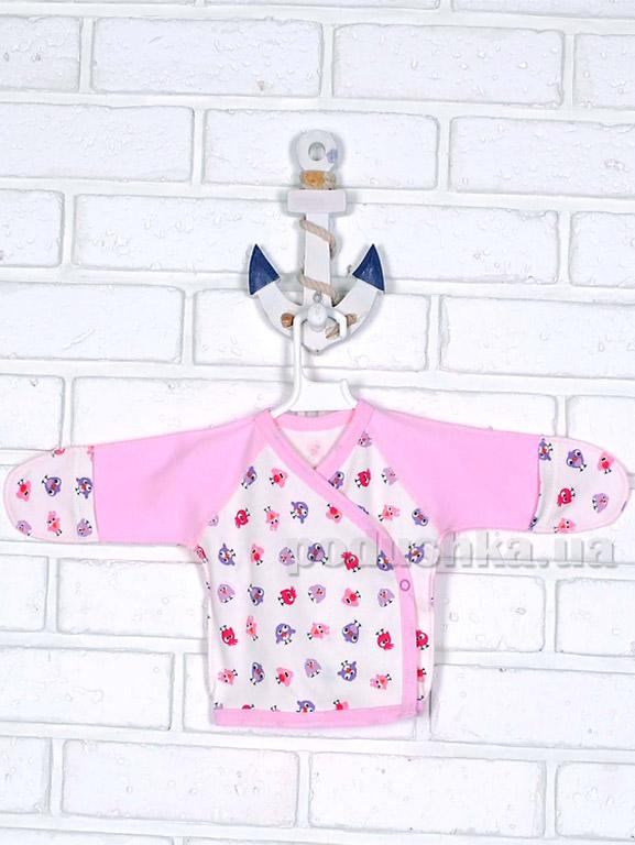 Распашонка с закрытыми ручками Татошка 09553 Птички розовая