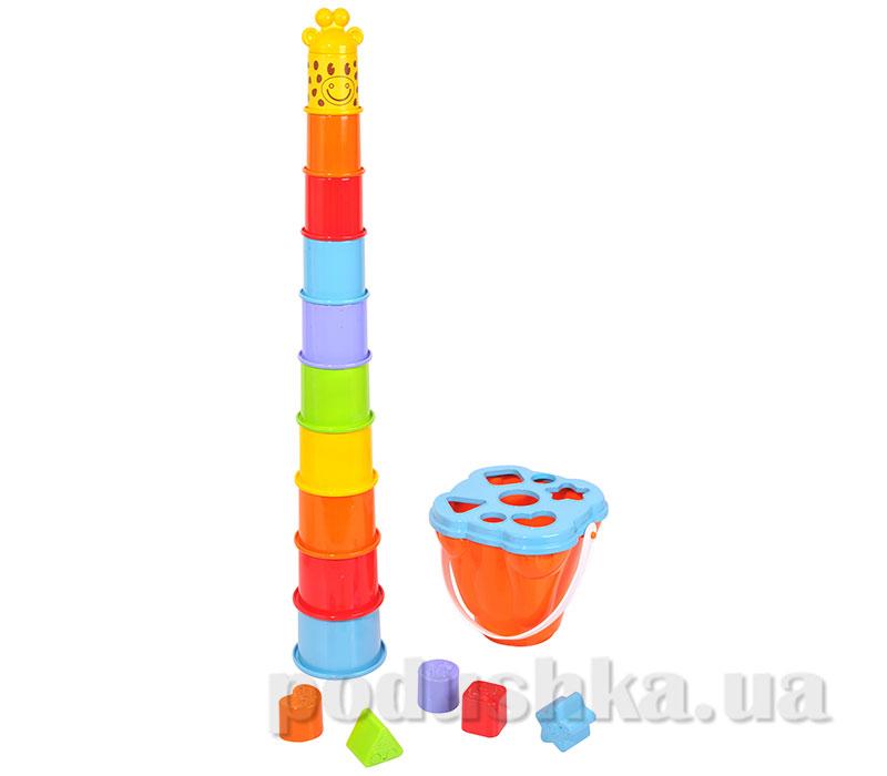 Развивающая игрушка Пирамида-жираф с сортером в наборе PlayGo