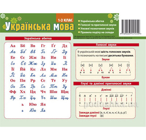 Развивающая карточка-подсказка Украинский язык Зірка 06799961