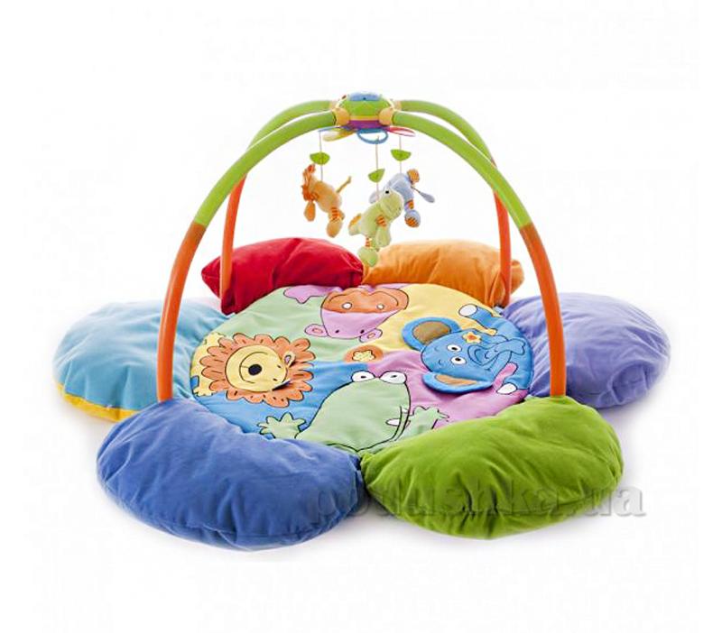 Развивающий коврик Biba Toys Цветок Друзья джунглей с мобилем и подсветкой 042JF