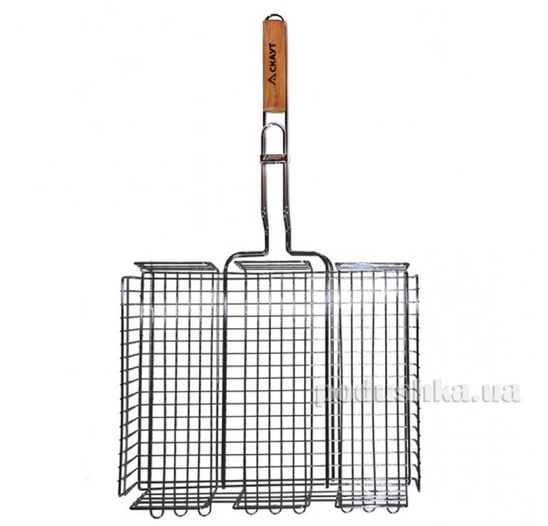 Решетка для гриля глубокая с деревянной ручкой Скаут 0706