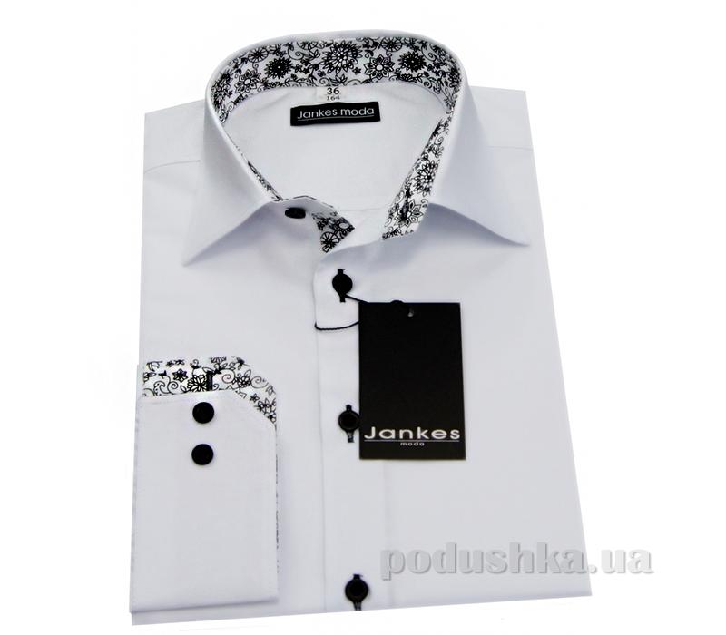 Рубашка для мальчика белая манжет узор Jankes kt-rj00192