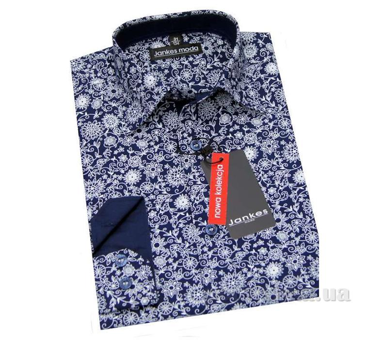 Рубашка для мальчика черная в цветы Jankes kt-rj00188