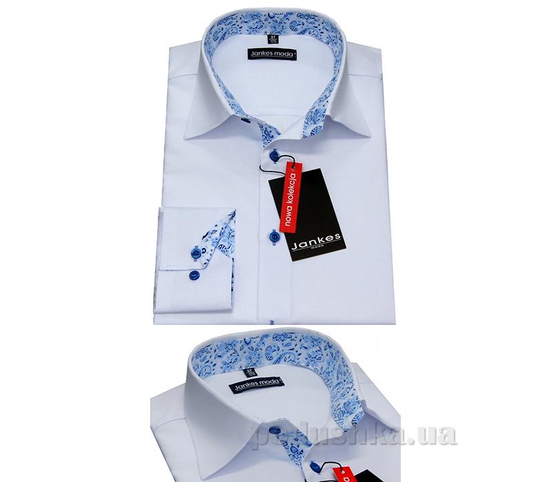 Рубашка для мальчика-узор бело синяя-02 Jankes kt-rj00198