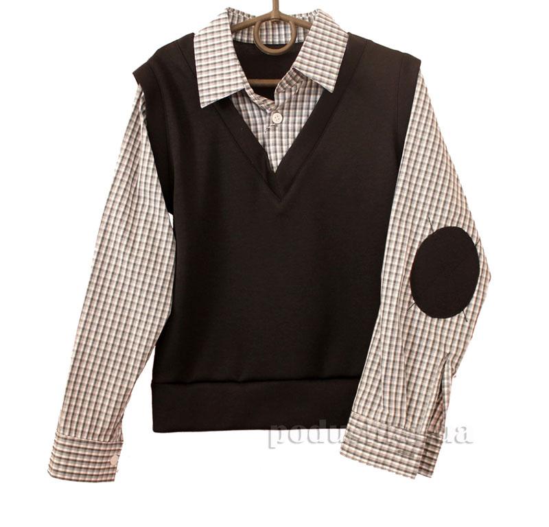 Рубашка-обманка для мальчика Промiнь ВМ-2603 черная в клетку