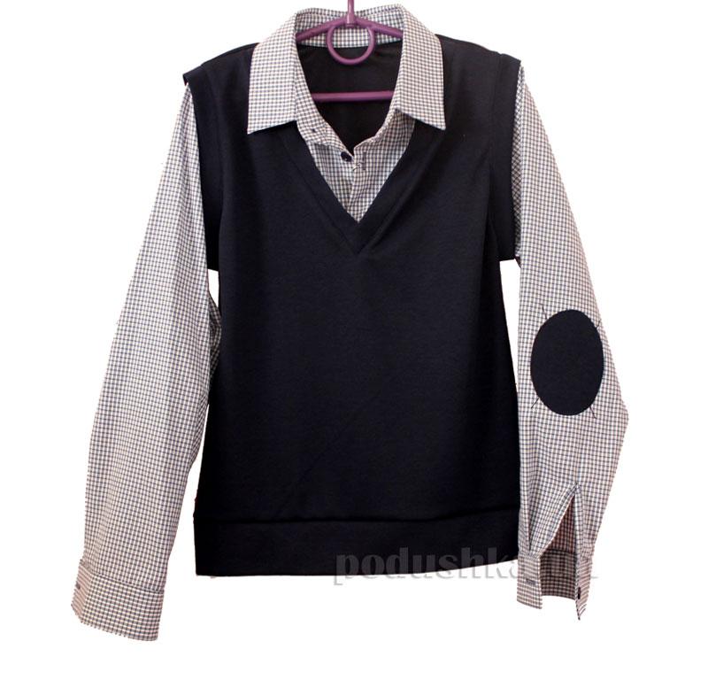 Рубашка-обманка для мальчика Промiнь ВМ-2603 синяя в клетку