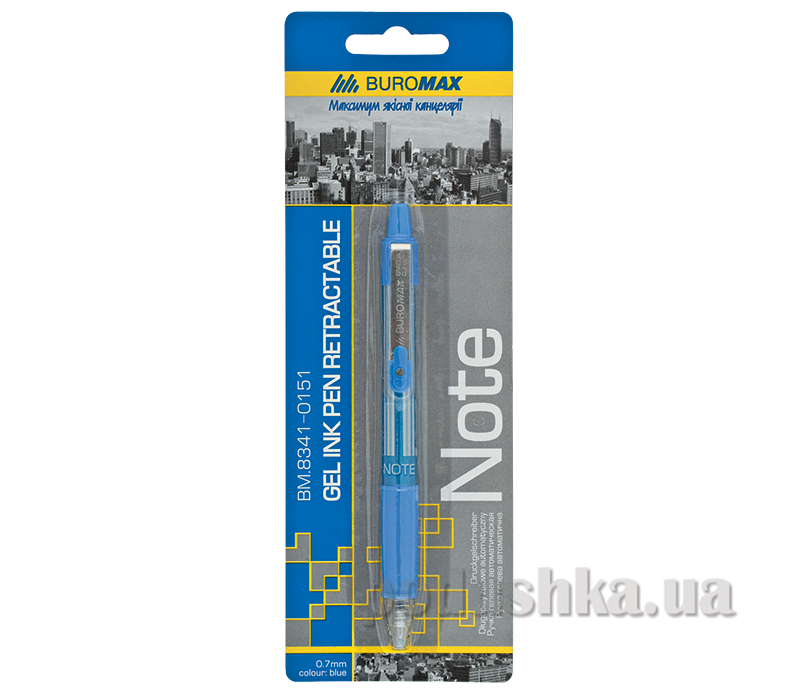 Ручка гелевая автоматическая Note Buromax BM.8341-0151