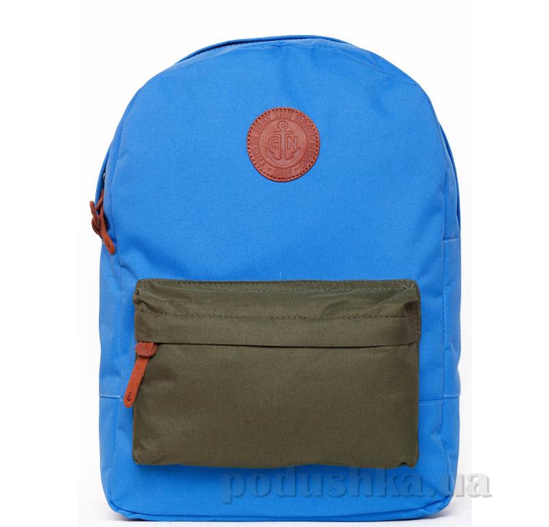 Рюкзак для города Бронкс Gin голубой с карманом хаки