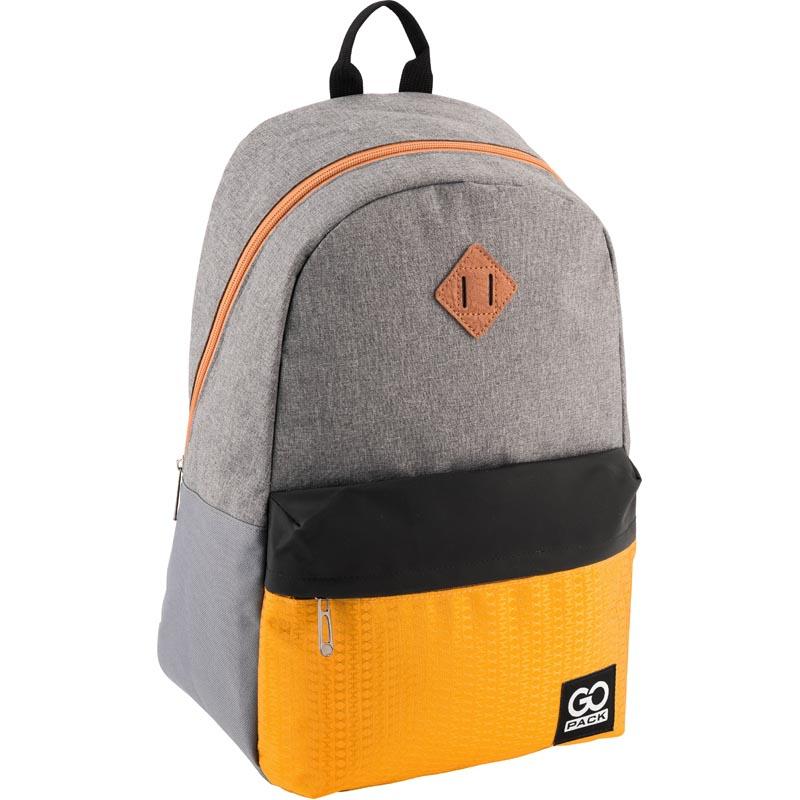 Рюкзак молодежный GoPack 122 GO-3 GO18-122L-3 серо-желтый