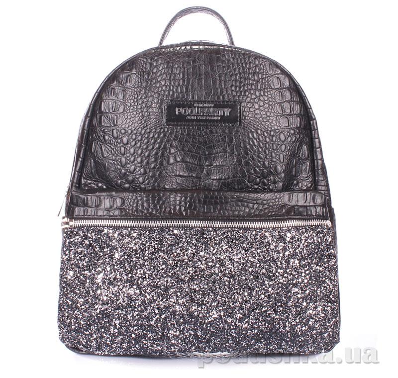 5243e94eafba Рюкзак женский кожаный Poolparty Mini croco glitter черный купить в ...