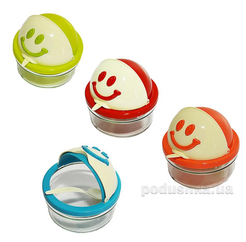 Сахарница с ложкой в коробке Miradan Smile M-202 410 мл  цвет голубой Miradan