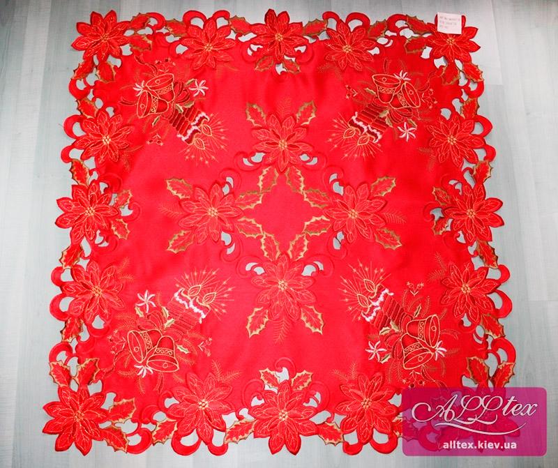 Салфетка атласная новогодняя 5073 красная