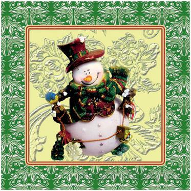 Салфетка льняная Снеговик 13с285-ШР