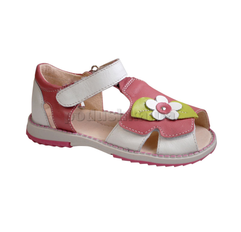 Сандали летние для девочки Берегиня 2505 белые с розовым