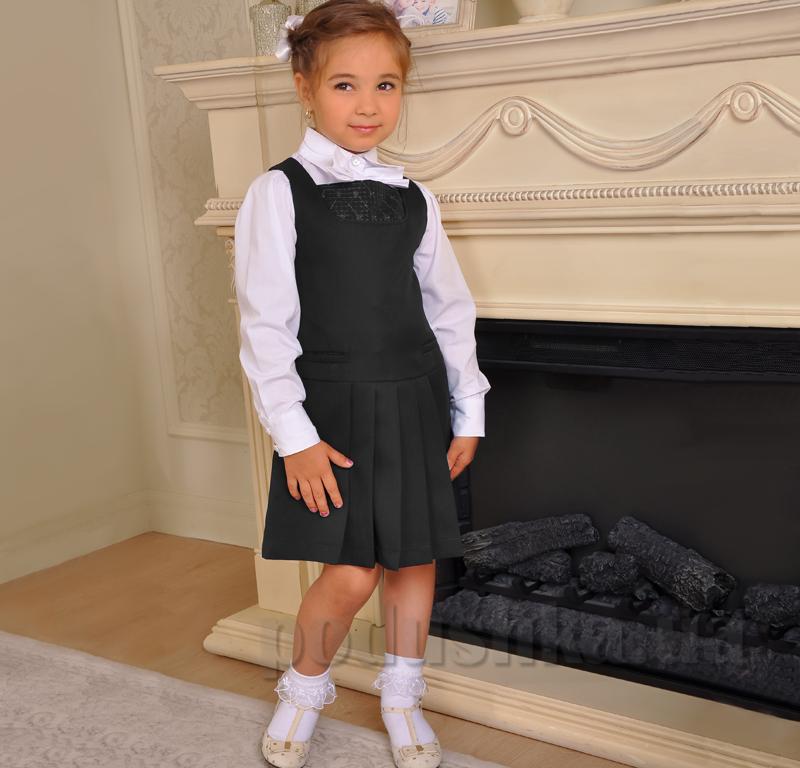 Сарафан полушерстяной Милана С-03101 черный с вышивкой