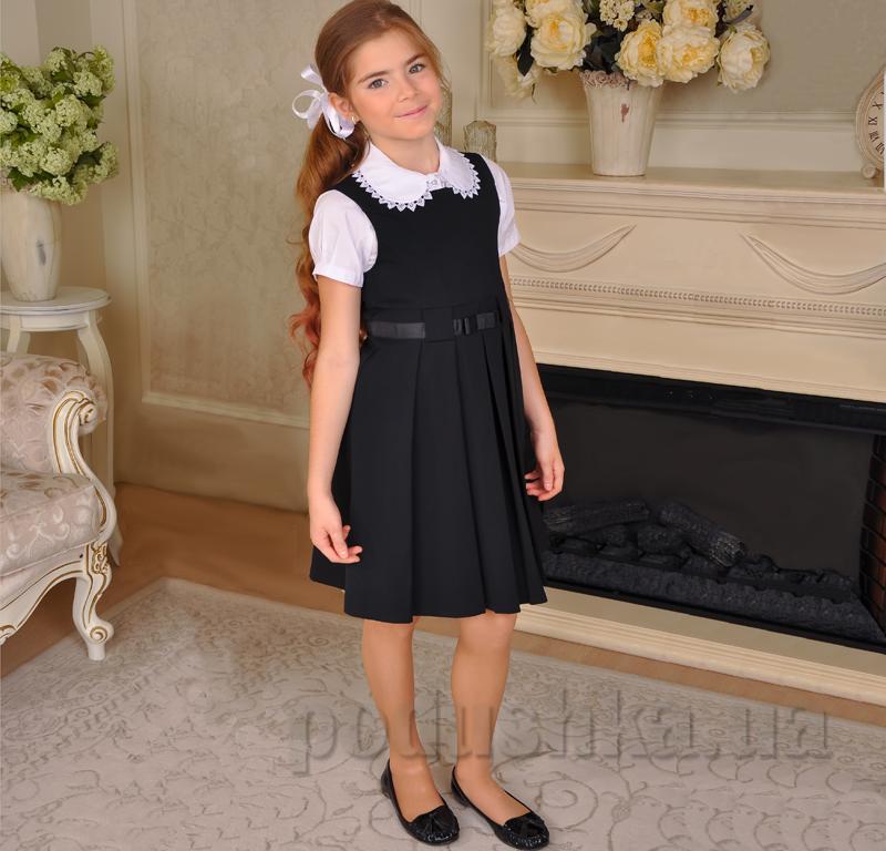 Школьный cарафан с репсовой лентой Милана С-02105 черный