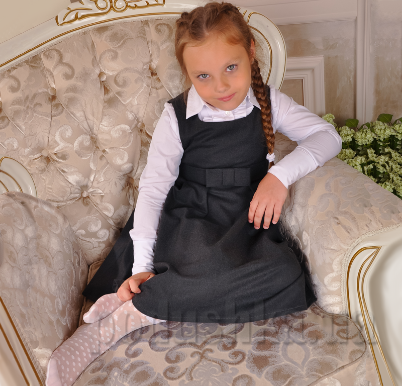 Сарафан школьный серый Милана С-02112