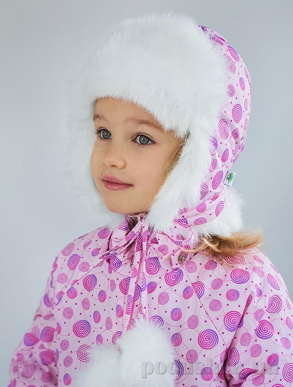 Шапка меховая для девочки Модный карапуз Bubble pink 03-00605