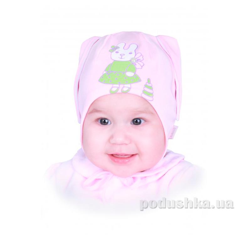 Шапочка для девочки Бабасик Зайка розово-белая