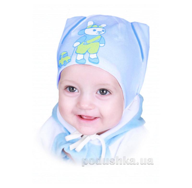 Шапочка для мальчика Бабасик Зайка бело-голубая